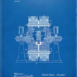 1898 Tesla Electric Circuit Patent Artwork - Blueprint by Nikki Marie Smith