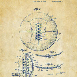 1928 Soccer Ball Lacing Patent Artwork - Vintage by Nikki Marie Smith