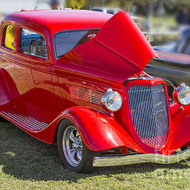 1933 Ford Vicky Automobile In Red Color 3023.02 by M K Miller