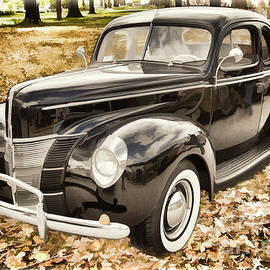 1940 Ford Classic Car Antique Automobile Painting Photograph In  by M K Miller