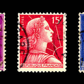 1950s French Postage Triptych by Carol Leigh
