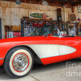 1957 Little Red Corvette Route 66 by Bob Christopher