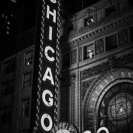 Chicago Theatre Sign in Black and White by Paul Velgos