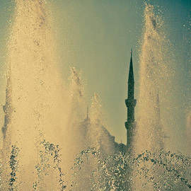 view from fountain Silhouettes of Blue Mosque by Raimond Klavins