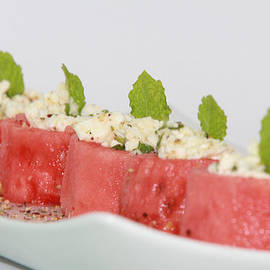 Water melon cups with feta cheese and mint by Ash Sharesomephotos