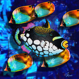 5 Butterfly fishes and Clown Trigger  by Edwin Rosado