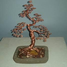 Ricks  Tree Art - #62 Copper Braided Bonsai Tree wire sculpture
