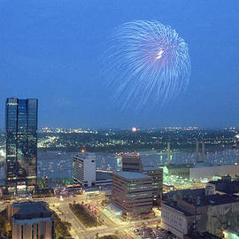 7403 Toledo Twilight Ohio Fireworks Over Maumee River by Chris Maher