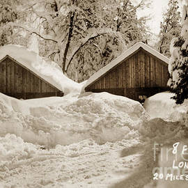 8 feet of snow Long Barn Tuolumne County 1930 by California Views Archives Mr Pat Hathaway Archives