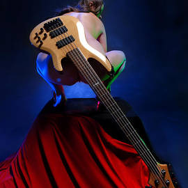 9091 Nude With Bass Guitar by Chris Maher