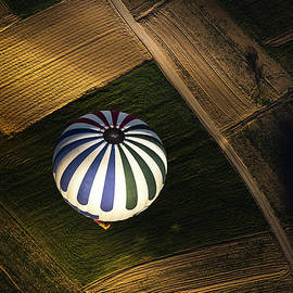 A Balloon Over The Agricultural Field by Coolbiere Photograph