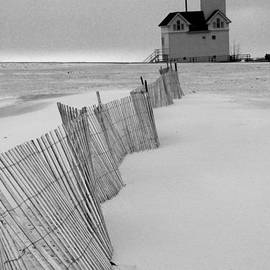 Randall Nyhof - A Black And White Photograph of the Lighthouse Big Red in Holland Michigan