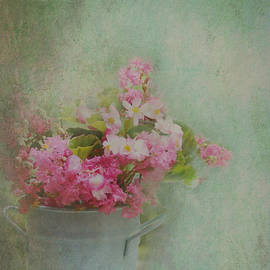 A Bucketful of Pink Cottage Garden Flowers by Carla Parris