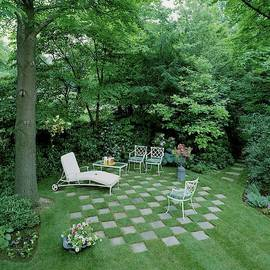 A Garden With Checkered Pavement