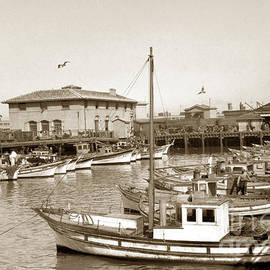 A portion of the crab boat fleet tied up at Fisherman's Wharf S. F. Calif.  Circa 1925 by California Views Archives Mr Pat Hathaway Archives