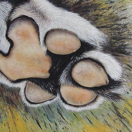 Hukam Chand Wildlife artist - A Tiger Paw Silk Painting