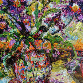 Ginette Callaway - Abstract Irises Still Life Oil Painting