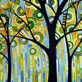 Amy Giacomelli - Abstract Modern Tree Landscape SPRING RAIN by Amy Giacomelli