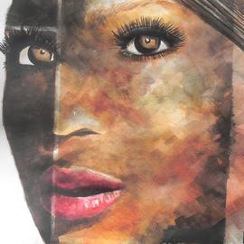 Abstract Painting of Singer Beyonce  by Chrisann Ellis