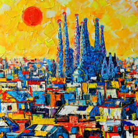 Ana Maria Edulescu - Abstract Sunset Over Sagrada Familia In Barcelona