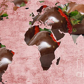 Abstract World Map - Chocolate Covered Strawberries - Candy Shop by Andee Design