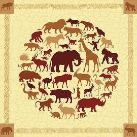 African Animals Collage by Alonzodesign