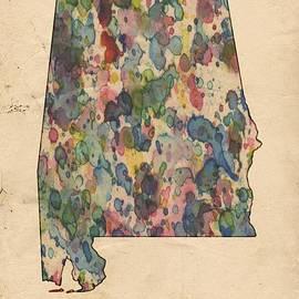 Alabama Map Vintage Watercolor by Florian Rodarte