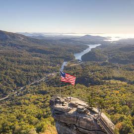 Dustin K Ryan - American Flag at Chimney Rock State Park North Carolina