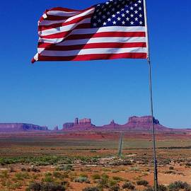 Dany Lison - American Flag in Monument Valley
