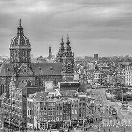 Amsterdam view with St.Nicolaaschurch by Patricia Hofmeester