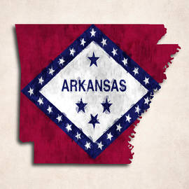 World Art Prints And Designs - Arkansas Map Art with Flag Design