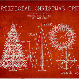 Artifical Christmas Tree Patent from 1927 - Red by Aged Pixel