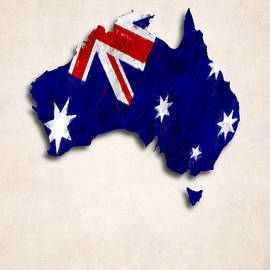 World Art Prints And Designs - Australia Map Art with Flag Design