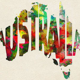 Australia Typographic Watercolor Map by Inspirowl Design