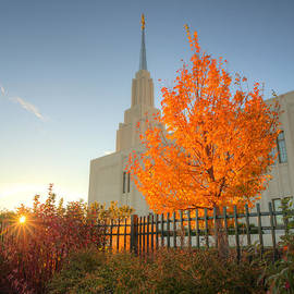 Autumn Sunrise At The Twin Falls Temple by Dustin  LeFevre
