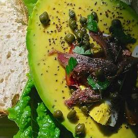 Avocado Tomato Salad with Anchovies Eggs and Capers by James Temple