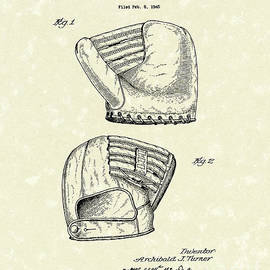 Baseball Mitt 1945 Patent Art by Prior Art Design