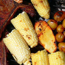 Bbq Steak Potatoes And Corn by Jeff Lowe