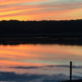 Beautiful pink and yellow sunset over a Connecticut salt marsh by Marianne Campolongo