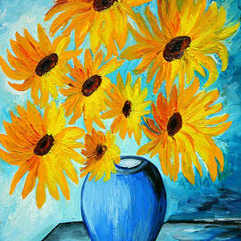 Ramona Matei - Beautiful Sunflowers in Blue Vase