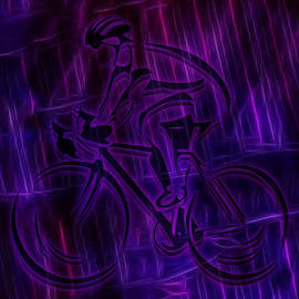 Bicyclist In Electric Rain by Ray Van Gundy