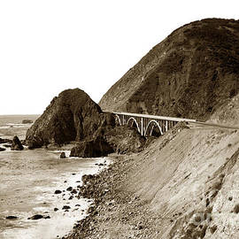 Big Creek Bridge double arched concrete bridge on Highway 1. About 40 miles South of Monterey  1935 by California Views Archives Mr Pat Hathaway Archives