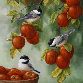 Crista Forest - Bird Painting - Apple Harvest Chickadees