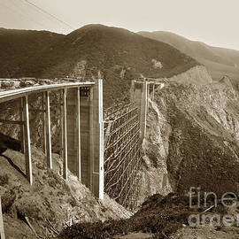 Bixby Creek Bridge under construction Big Sur Coast  on Highway One Calif. May. 1932 by California Views Archives Mr Pat Hathaway Archives
