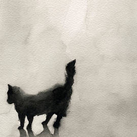 Black Cat Watercolor Painting by Beverly Brown
