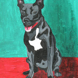 Black Pit Bull Terrier by Genevieve Esson