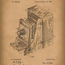 Blair Photographic Camera 1887 Patent Art Brown by Prior Art Design