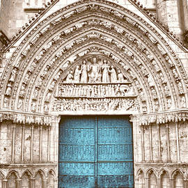 Blue Cathedral Door Poitiers by Menega Sabidussi