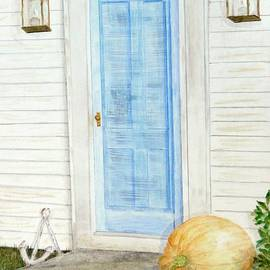 Blue Door with Pumpkin by Barbie Corbett-Newmin