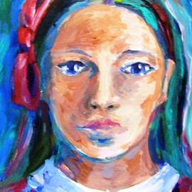 Blue eyed girl wearing a red bow  by Trudi Doyle
